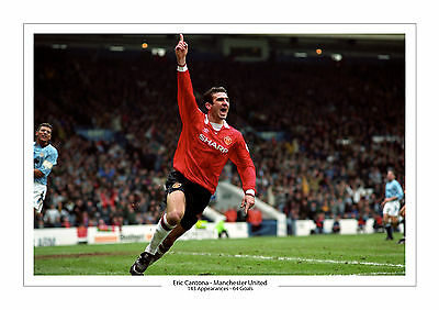 Eric Cantona Manchester United Print Photo Career Stats A4 Man Utd