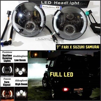 Coppia Fari LED SUZUKI SAMURAI sj 1300 Santana Headlights 7'' ANGEL EYES H4 OMOL