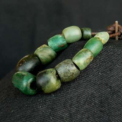 ANCIENT Serpentine BEADS 蛇纹岩 - 11 pieces - 90 mm LENGTH - Saharian NEOLITHIC