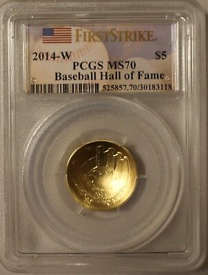 2014 W PCGS MS70 $5 Gold Baseball Hall of Fame Coin -  FIRST STRIKE