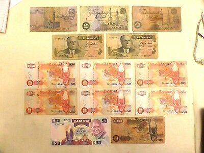 13 x AFRICA BANKNOTES FROM EGYPT, TUNISIA & ZAMBIA  1973-2006    1330483/484