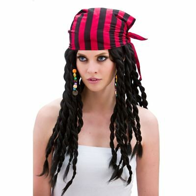 Ladies BUCCANEER BEAUTY Wig Caribbean Pirate Party Fancy Dress Braids Beads Hat
