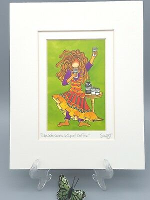 Suzy Toronto Signed Art She Who Loves a Cup of Coffee Lithograph Exclusive Print