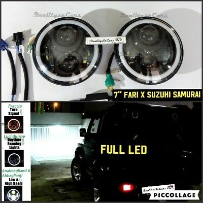 Coppia Fari LED SUZUKI SAMURAI sj 1300 Headlights NERO 7'' ANGEL EYES H4 tuning