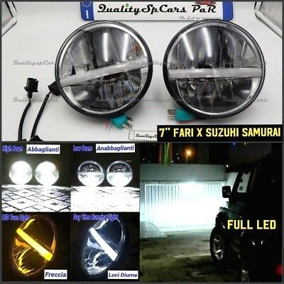Coppia Fari SUZUKI SAMURAI sj 1300 Santana Headlights 7'' ANGEL EYES H4 tuning