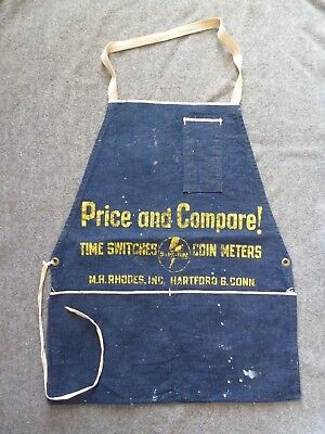 Vintage M.H. Rhodes MARK-TIME Time Switches Coin Meters DENIM APRON Advertising