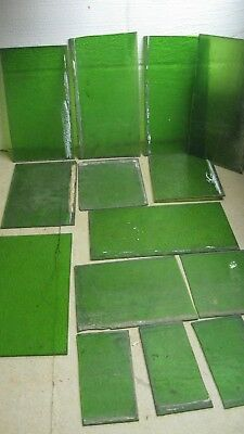 """Antique Green Stained glass Appx 7 Lbs 6"""" x 12"""""""
