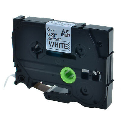 """1PK TZ-211 TZe-211 TZ211 Black on White Label Tape For Brother P-Touch 1/4"""" 6mm"""