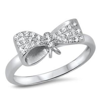LARGE BOW ~ Ladies Genuine 925 STERLING SILVER RING ~ Size 8 9 10 / Q S U