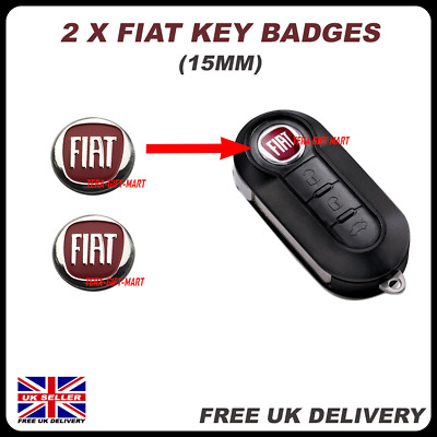 2x NEW Remote Key Fob Badge Emblem Sticker Logo for FIAT 500 GRANDE PUNTO PANDA
