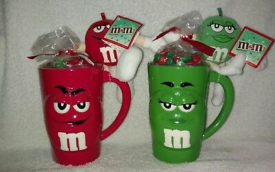 M&M's Red & Green Dimensional Ceramic Mugs With Mini Plush Characters