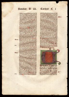 """1484 Incunable Leaf John Bromyard """"Greatest Proclamation"""" Large Colored Initial"""