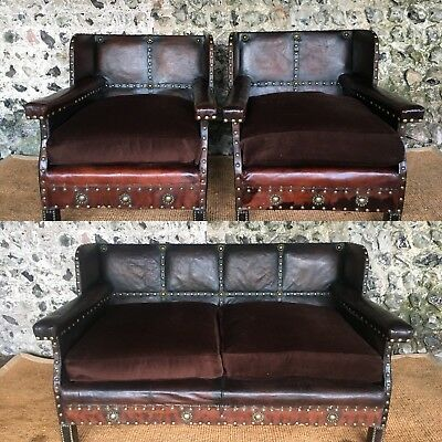 Antique Leather Studded Arts And Crafts C1890 Sofa Vintage