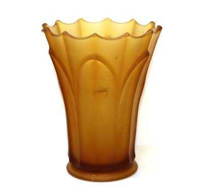 Vintage large art deco heavy amber satin frosted glass vase