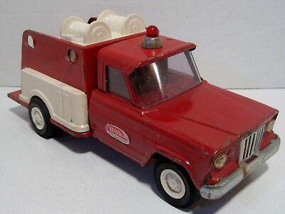Vintage TONKA Pressed Steel Jeep Fire Department Fire Fighter Pumper Toy Truck