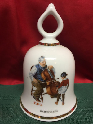 Wonderful World of Norman Rockwell Collectible Bell GRANDPA'S GIRL 1979