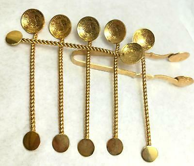 Vintage ornate  Collection Stainless steel set  6 Tea Spoons  and Sugar Tongs
