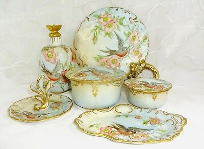 Limoges France 6 Piece Vanity Dresser Set Hand Painted Birds