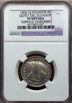 **** NGC **** ECUADOR 2 REALES 1836 KM18  *** VF++ *** d630 LOOKS MUCH BETTER!