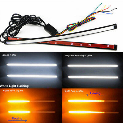 2*Switchback Flowing Car DRL LED Knight Rider Turn Signal Brake Light Strip 30cm