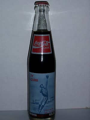 10 Oz Coca Cola Commemorative Bottle -1989 Ty Cobb First In The Hall Of Fame