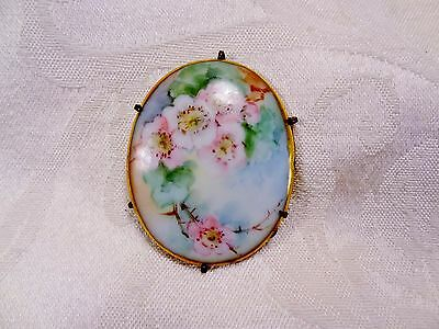 Vintage Antique Pink Roses Flowers Hand Painted Porcelain Brass Brooch Pin