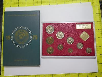 Russia 1975 Proof Like Mint Set Unc Rouble Kopek Old World Coin Collection Lot