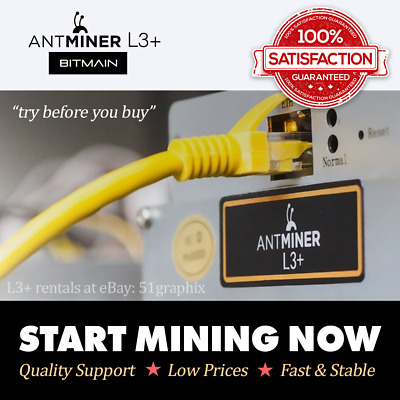 555MH/s Antminer L3+ Rental • Scrypt Crypto Mining Rent/Try/Lease • 168hrs