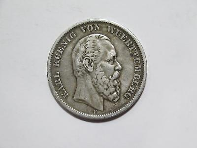 Germany Wurttemberg 1876F 5 Mark Silver Crown Type Old World Coin Collection Lot