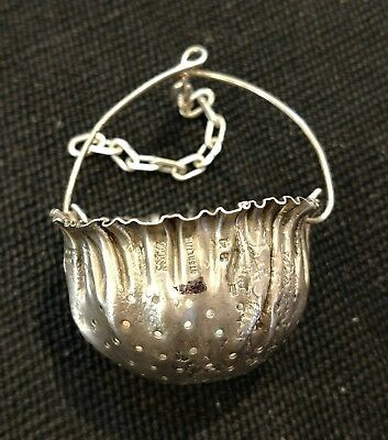 Vintage English sterling silver tea strainer in the form of a bag