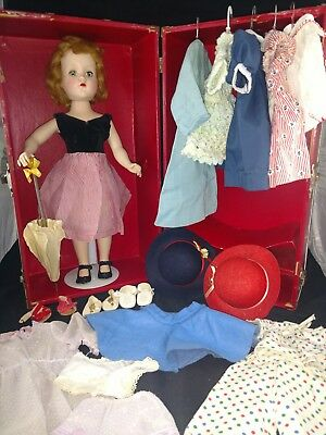 """Vintage Aaranbee R&B Hard Plastic Walker doll 17 1/2"""" Case, Clothes Shoes & more"""