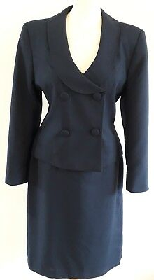 VINTAGE Women's SUIT JACKET & SKIRT 10-12 blue box lined buttons 1960's look