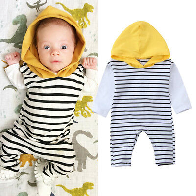 Newborn Baby Boy Girl Hooded Striped Romper Bodysuit Jumpsuit Outfit Clothes AU