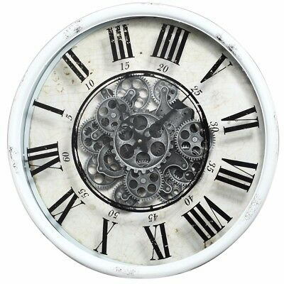 Mechanical Design Wall Clock Vintage White Attractive Simplicity Center Style