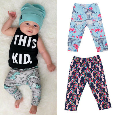 Toddler Kid Baby Boy Girl Cartoon Bottom Pants Harem Leggings Pants Trousers Y