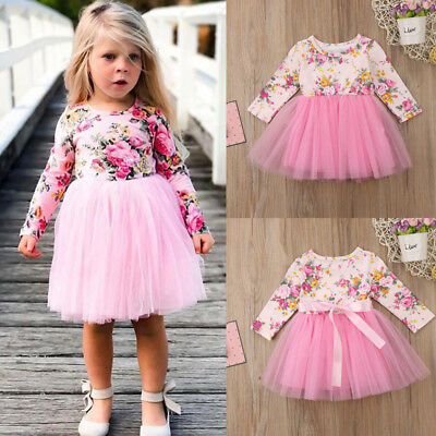 Newborn Kids Baby Girls Long Sleeve Flower Tulle Tutu Skirts Dresses Clothes Hot