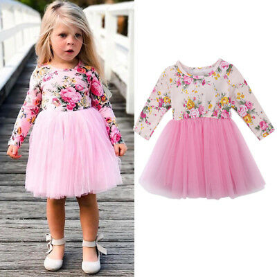 Princess Baby Girls Long Sleeve Floral Tulle Tutu Skirts Dresses Clothes Outfits