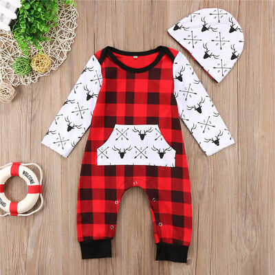 Newborn Baby Boy Girl Deer Checks Romper Bodysuit Jumpsuit Hat Outfits Xmas Set