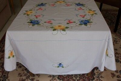 VINTAGE TABLECLOTH Round White Cotton Embroidered & Appliqued 178cm Diam #128