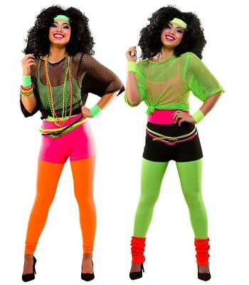 Ladies 80s 1980s NEON FANCY DRESS Dance Hen Party Costume Ra Ra's Hot Pants Legs