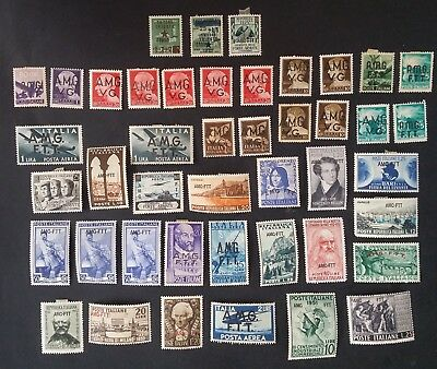 RARE 1947- 54 Italy Trieste Zone A lot of 44 Italian stamps A.M.G.T.T. O/Ps Mint