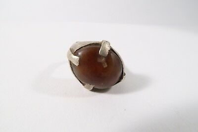 Alter Ring mit Achat Karneol K3 used Old ring Agate bague Fulani Afrozip