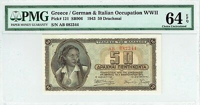 Greece 1943 50 Drachma p121 PMG Choice Uncirculated 64 EPQ