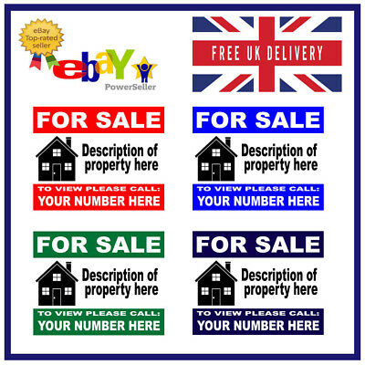 House Flat Property FOR SALE sign boards x2 Personalised Correx Board LANDS