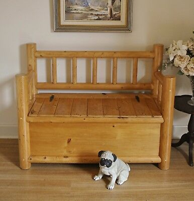 Rustic Log Style Lift Top Seat / Bench / Hall / Feature / Window Seat ~ Storage