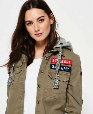 New Womens Superdry Washed Twill Military Shirt Army Green