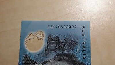 AUSTRALIA $10 2017 EA17 LAST PREFIX Very Low Serial EA 1705 or 06 UNC Banknote