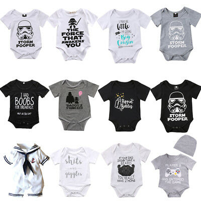 Star Wars Newborn Baby Boy Girl Romper Bodysuit Cotton Clothes Outfit Sunsuit