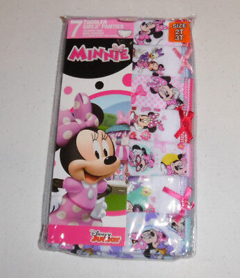 Disney Minnie Mouse Cotton 7 Undies Panty Pack Underwear Toddler Girls 2T/3T NIP