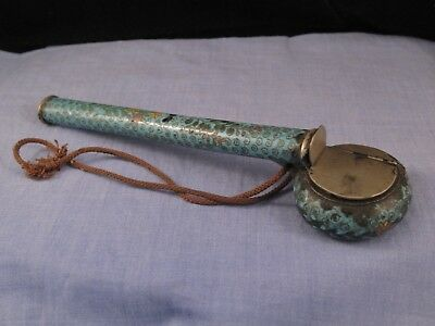 Antique Japanese Cloisonne Enamel Yatate Pen Bamboo Brush Case Inkwell Box